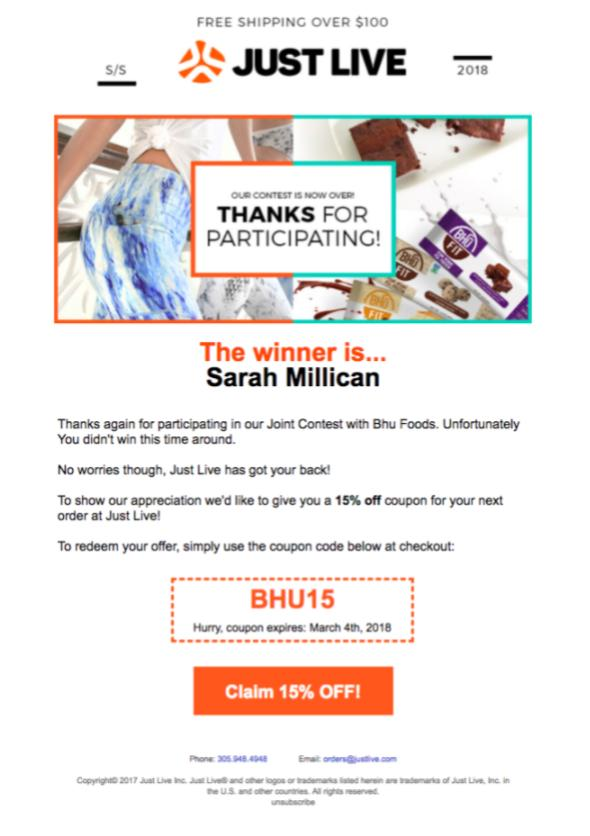 5 proven ways to announce notify contest winners with examples example of a great email to non winning contestants spiritdancerdesigns Gallery