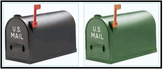 Two US mailboxes in different colours