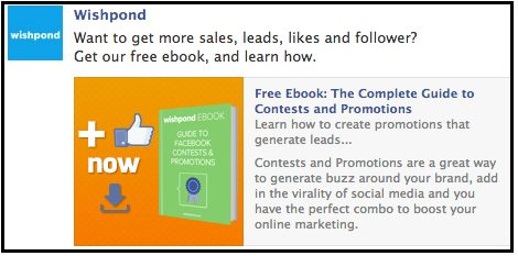 Wishpond Facebook ad example