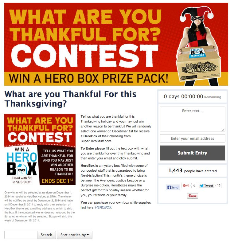 Facebook example contest