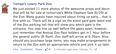 A Facebook post from Tamp's Lowery Park Zoo
