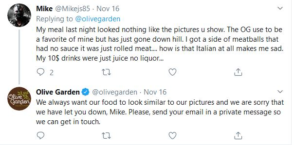 restaurant social media comments