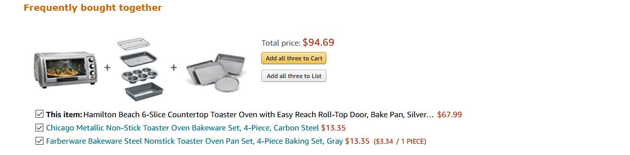 Amazon Toaster Oven bundle