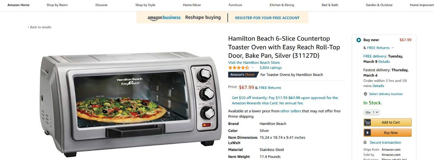Amazon Toaster Oven