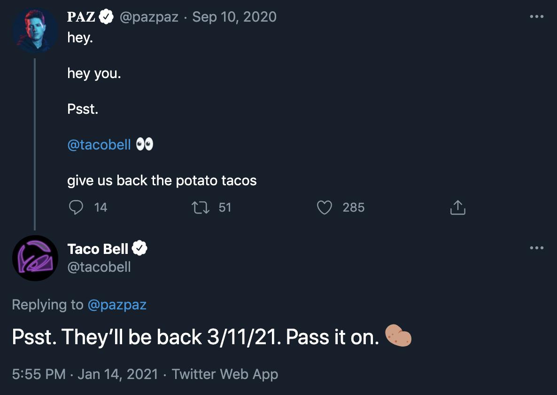 Taco Bell Social Media Account