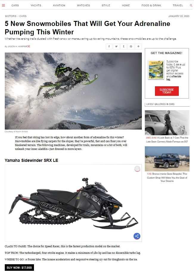 5 New Snowmobiles That Will Get Your Adrenaline Pumping in Winter