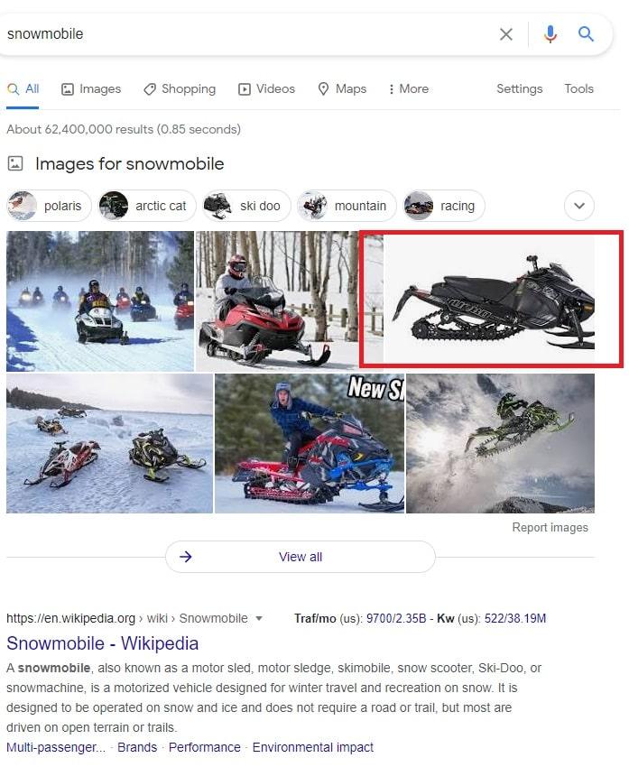 Google Snowmobile Search Results