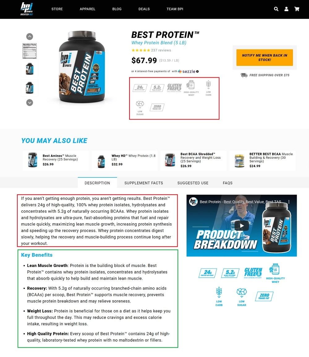 bpi Sports Product Descriptions