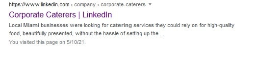 Corporate Caterers LinkedIn Search Result
