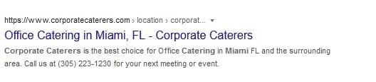 Corporate Caterers Website Search Result
