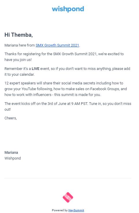 Event Confirmation Email