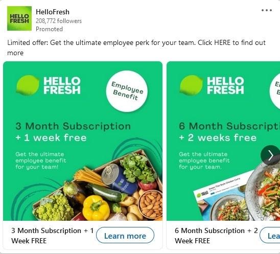 HelloFresh LinkedIn Ad