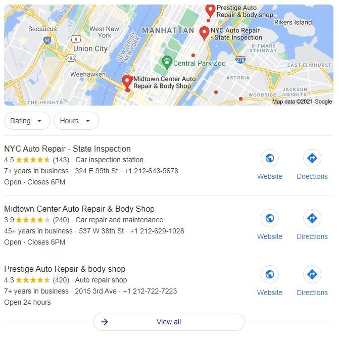 New York Auto Repair Search Results