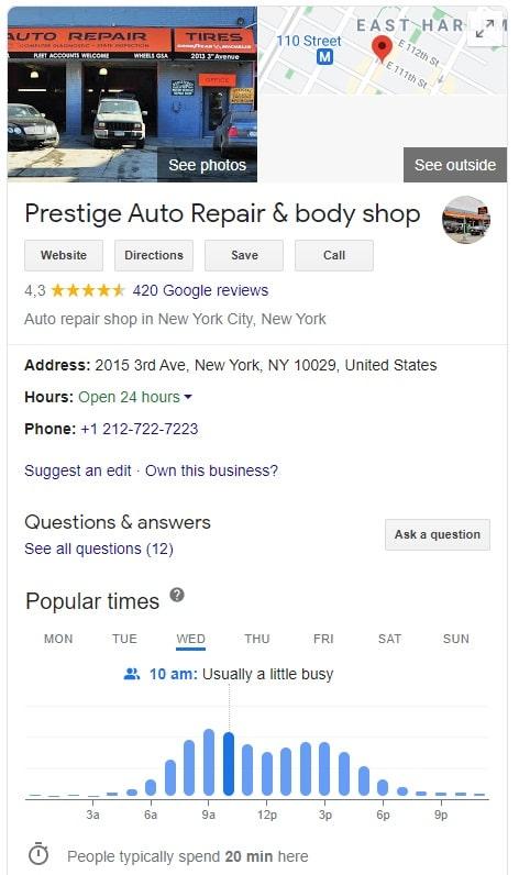 Prestige Auto Repair Google My Business Page