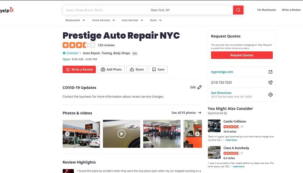 Prestige Auto Repair Yelp Page