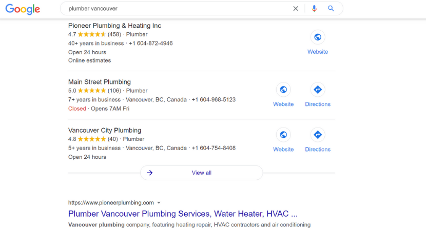 plumber Google