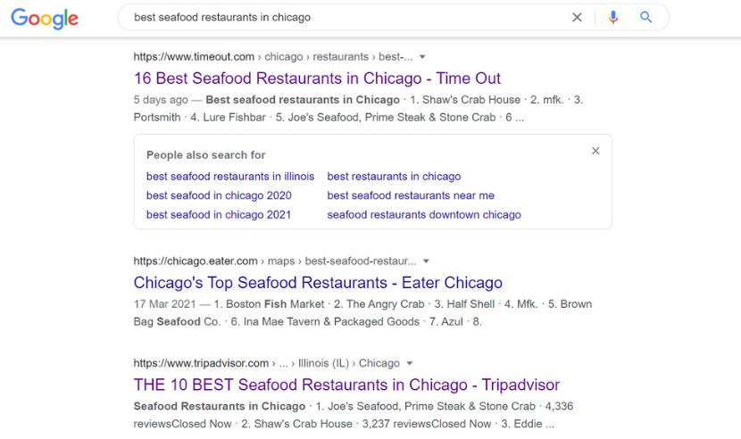 Google seafood restaurants in Chicago