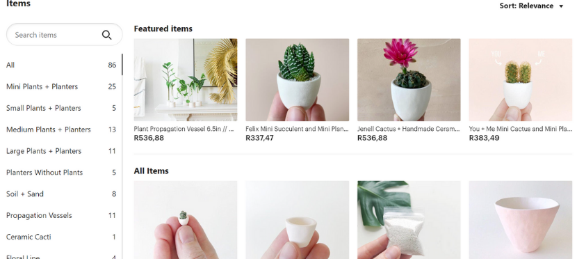 Etsy product categories