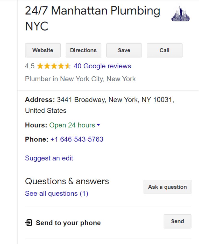 Plumber Google My Business