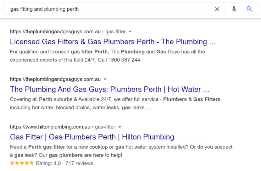 Google search plumber