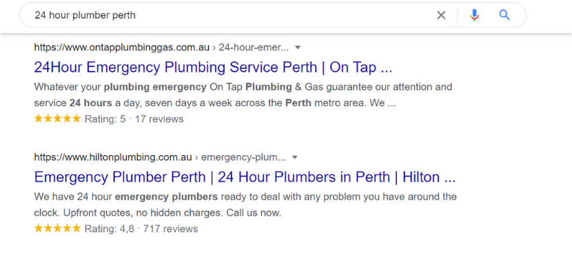 Plumber Google search