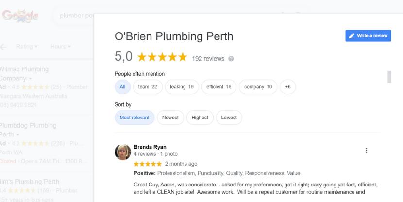 Plumber reviews