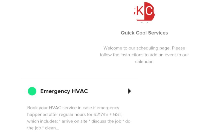 HVAC online booking