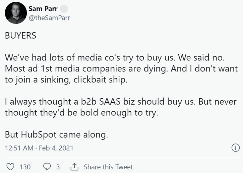 Sam Parr tweet