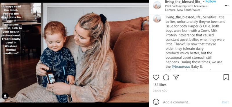 Instagram sponsored post