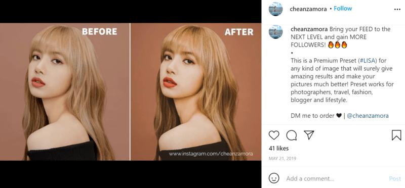 Instagram preset